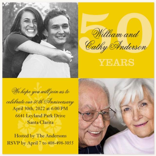 Golden Years Wedding Anniversary Invitations