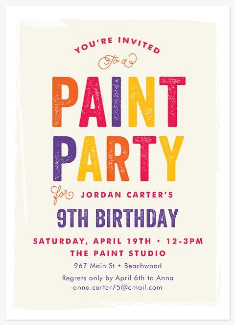 Let's Paint Kids Birthday Invitations