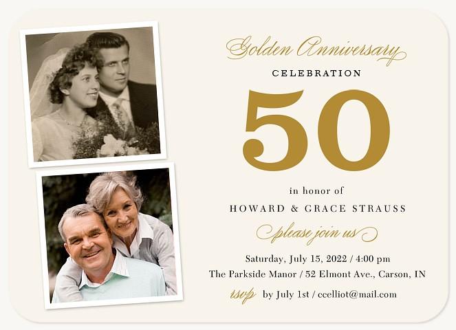 Golden Accomplishment  Wedding Anniversary Invitations