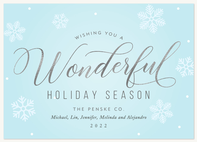 Soft Snow Wishes Business Holiday Cards