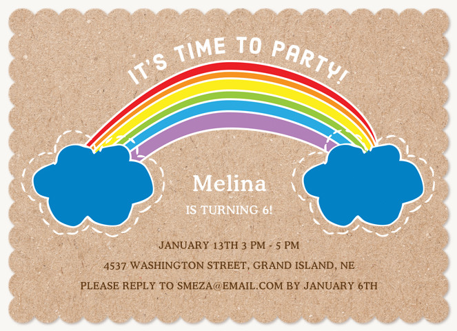 Crafty Rainbow Kids Birthday Invitations