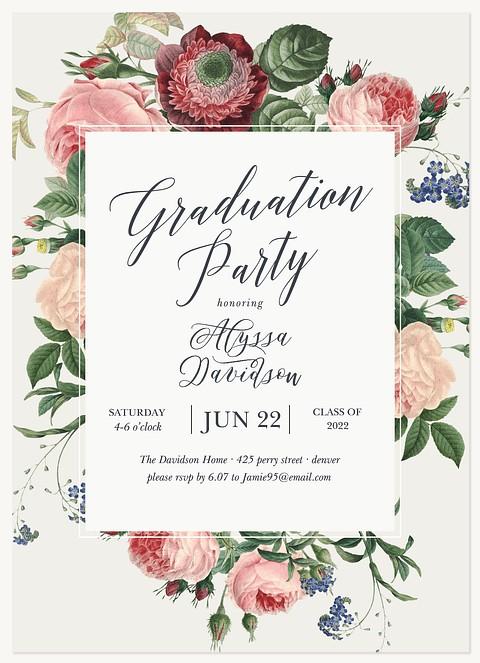 Vintage Botanica Graduation Invitations
