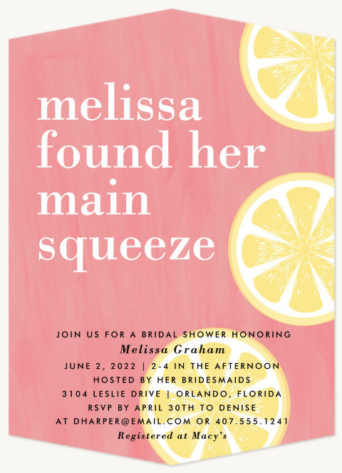 Main Squeeze Bridal Shower Invitations